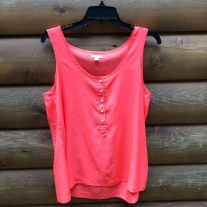 Slightly sheer pink Gap tank top with buttons